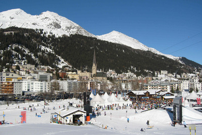 Luxury chalets and hotels in Davos resort, Switzerland