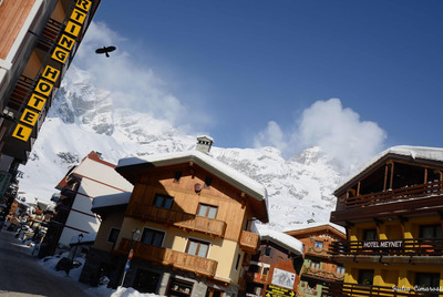 Luxury hotels and chalets in Cervinia resort, Italy