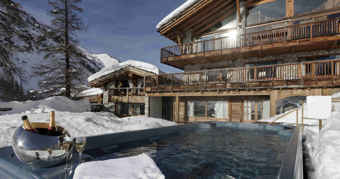 Luxury ski chalets with hot tub - this fine example is in Val d'Isere