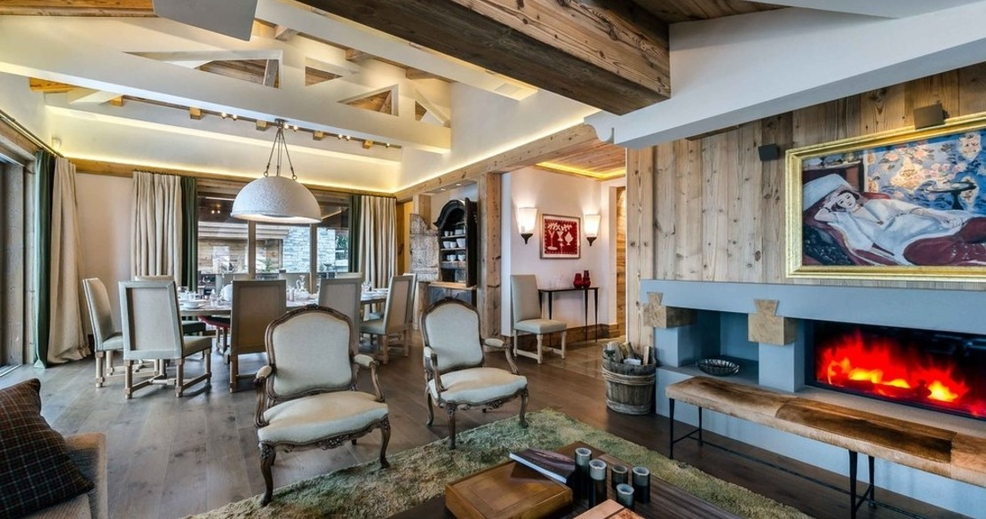 The sitting room in Chalet Bastidons, Courchevel 1850